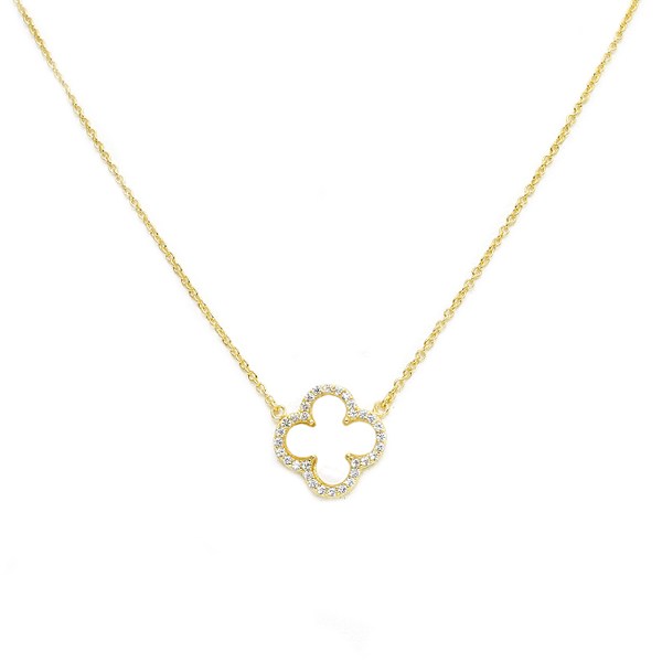 Sterling Silver Gold Plated Mother of Pearl CZ Clover Necklace