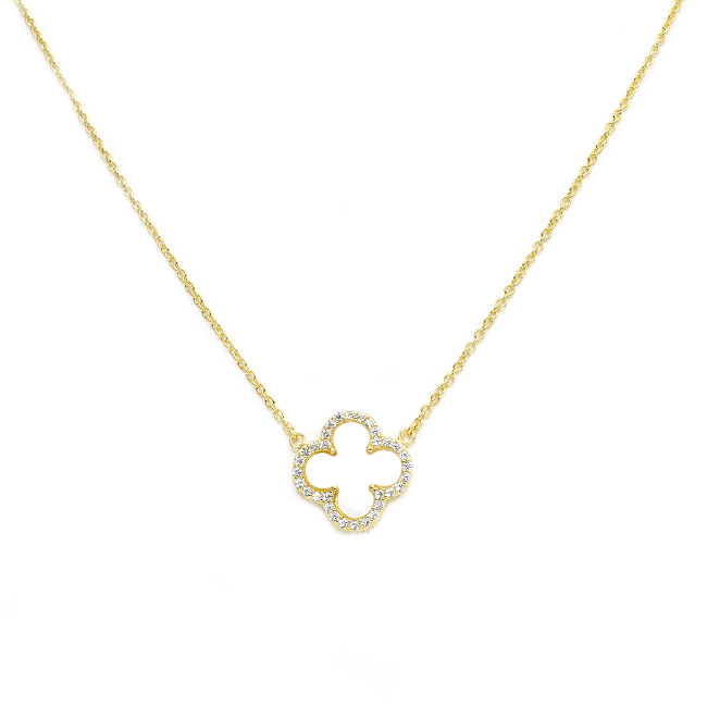 Sterling Silver Gold Plated Mother of Pearl CZ Clover Pendant Necklace