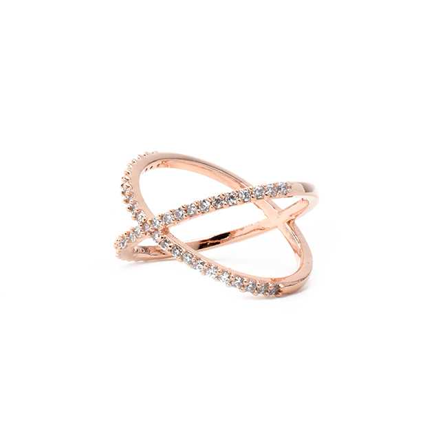 Rose Gold Cubic Zirconia X Ring