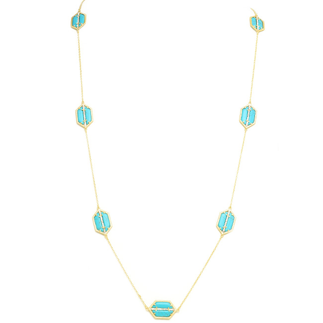 Gold & Turquoise Cubic Zirconia Stations Necklace