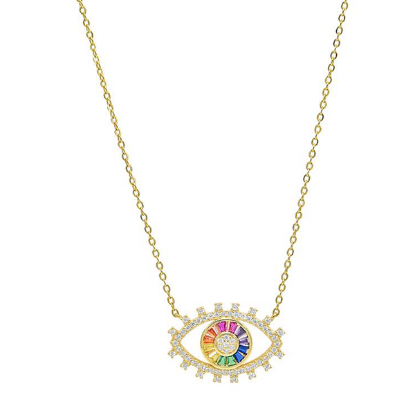 Sterling Silver Rainbow CZ Evil Eye Pendant Necklace