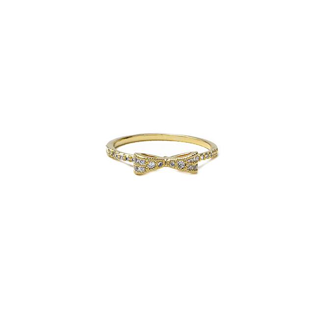 Gold Cubic Zirconia Studded Bow Ring