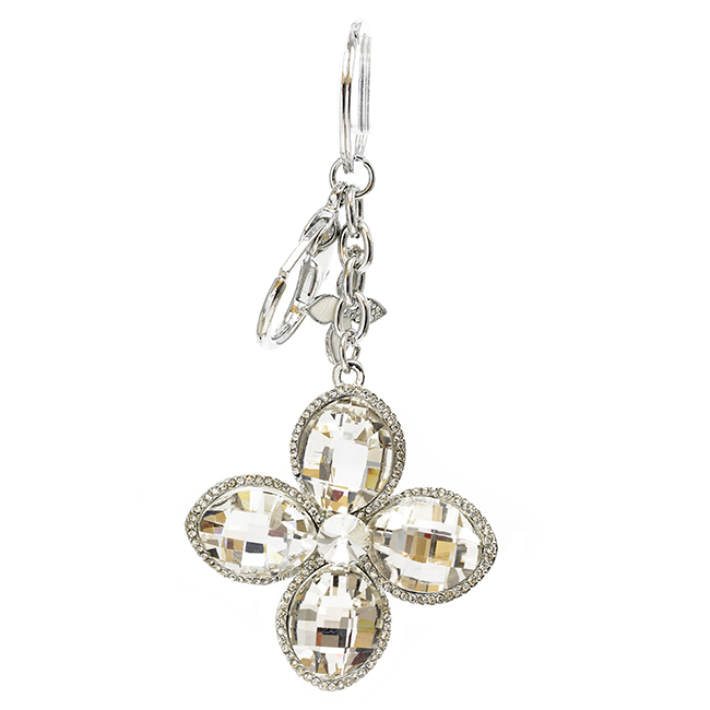 Silver Crystal Flower Key Chain