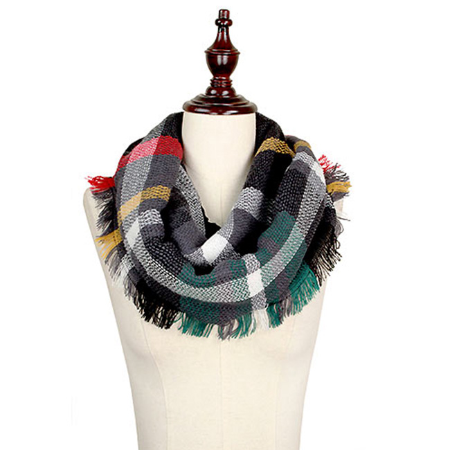 Woven Plaid Infinity Scarf