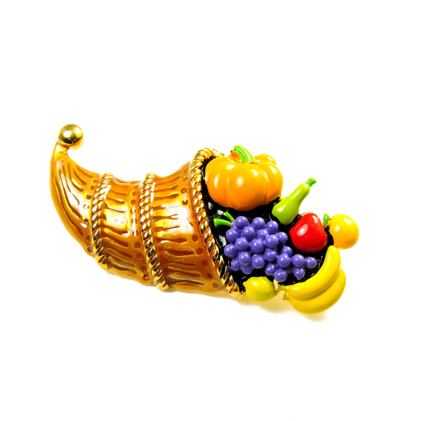 Thanksgiving Basket Enamel Brooch