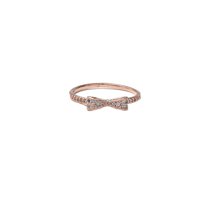 Rose Gold Cubic Zirconia Studded Bow Ring