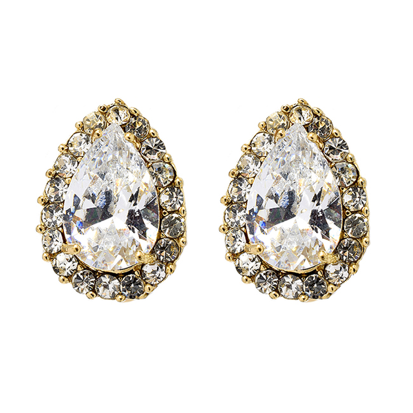 Teardrop Gold Tone Clip On Earrings with Cubic Zirconia