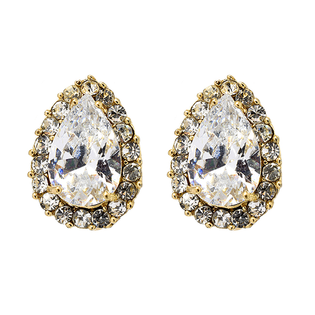 Gold Cubic Zirconia Teardrop Clip On Earrings
