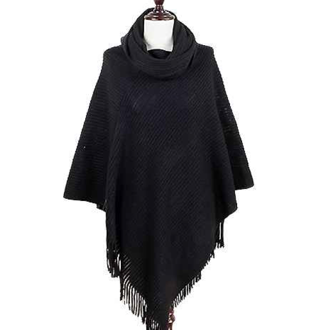 Solid Black Fashion Poncho