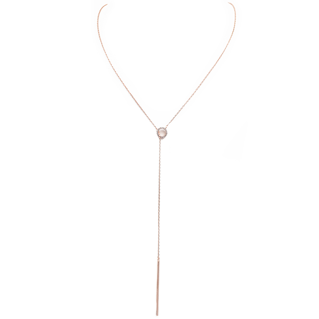 Rose Gold Cubic Zirconia Open Circle Adjustable Drop Necklace