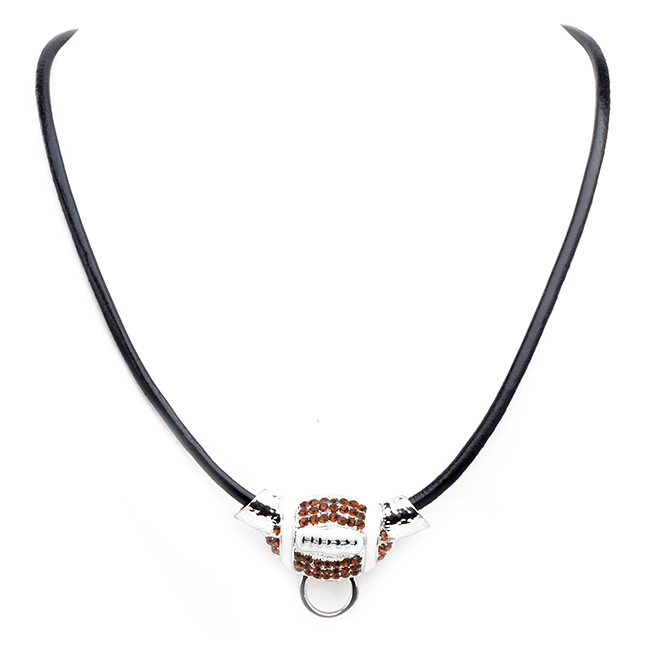 Crystal Football Pendant Necklace with Leather Strap