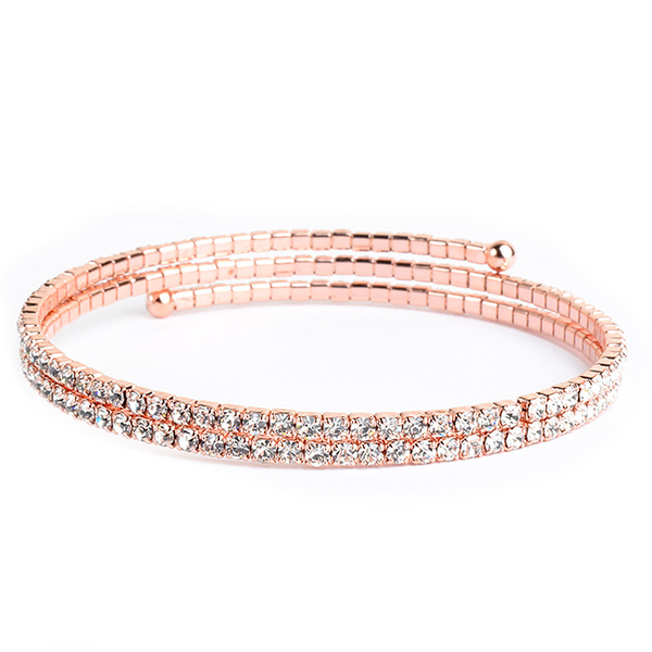Two Line Thin Rose Gold Crystal Studded Coil Bracelet