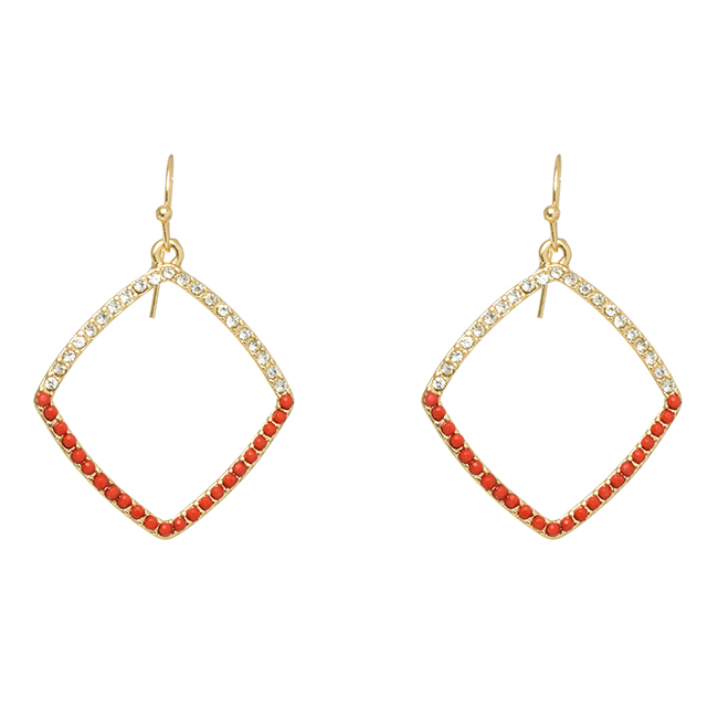 Gold Square Outline Earrings with Red & Clear Crystals