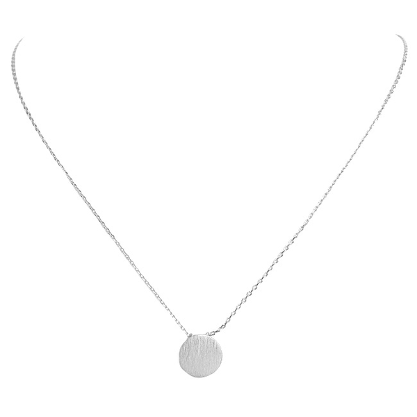 Brushed Silver Round Disc Pendant Necklace