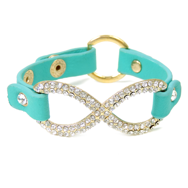 Turquoise Leather Gold Infinity Adjustable Bracelet