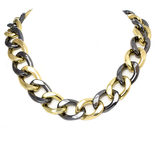Gold and Gunmetal Linked Chain Necklace