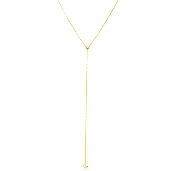 Sterling Silver Gold Plated Lariat Necklace with Cubic Zirconia