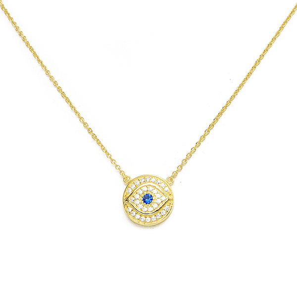 Sterling Silver and Plated Evil Eye CZ Necklace in Gold