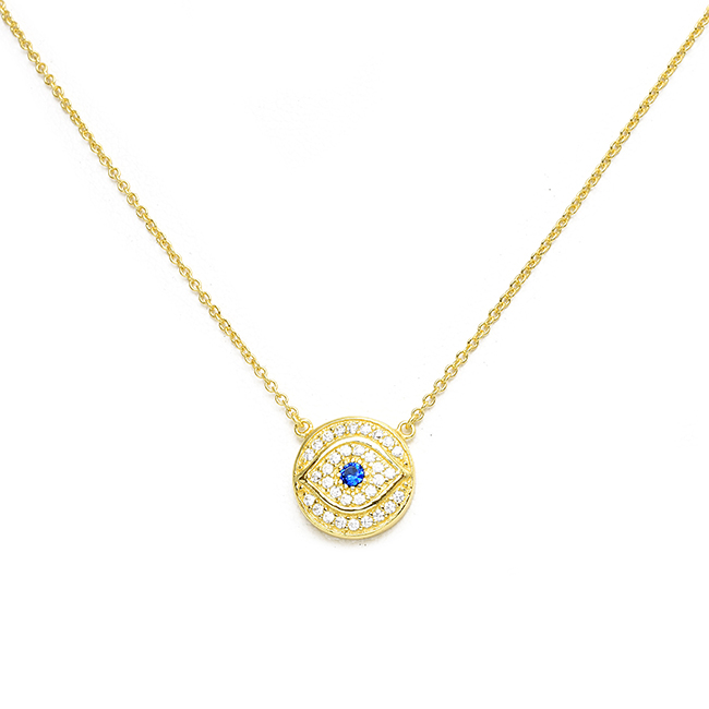 Sterling Silver Gold Plated CZ Evil Eye CZ Necklace