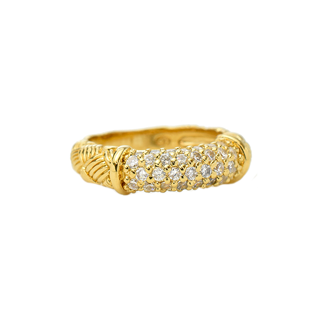 Gold Textured Cubic Zirconia Band Ring