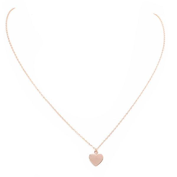 Rose Gold Brass Heart Pendant Necklace
