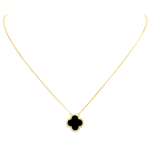 Sterling Silver Gold Plated Cubic Zirconia Clover Necklace