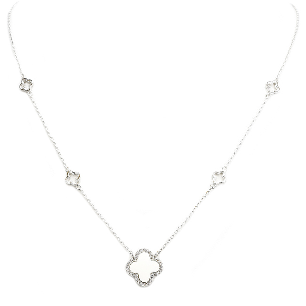 Silver Chain Necklace with Clover Stations and White Clover Pend