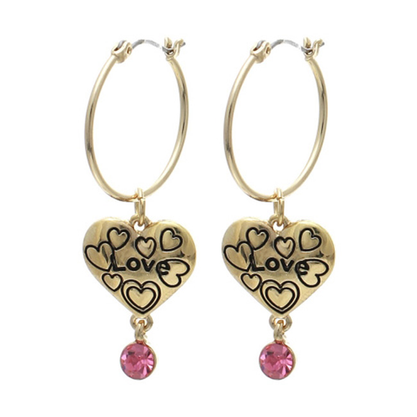 Thin Gold Hoop Earrings with Dangle Love Heart Charm