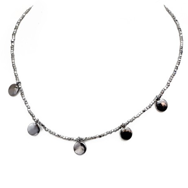 Beaded Choker Necklace with Disc Charms