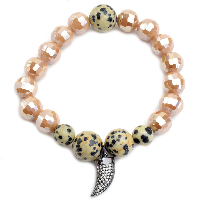 Crystal Beaded Semi Precious Stretch Bracelet