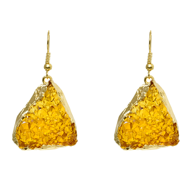 Gold Dangle Earrings with Topaz Epoxy Triangle
