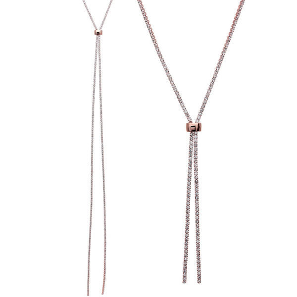 Rose Gold and Clear Crystal Slider Necklace