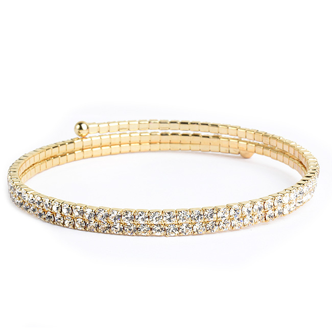Two Line Thin Gold Crystal Studded Coil Bracelet