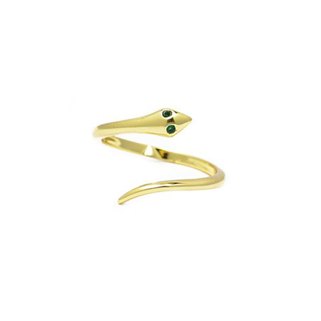 Gold Cubic Zirconia Adjustable Snake Ring