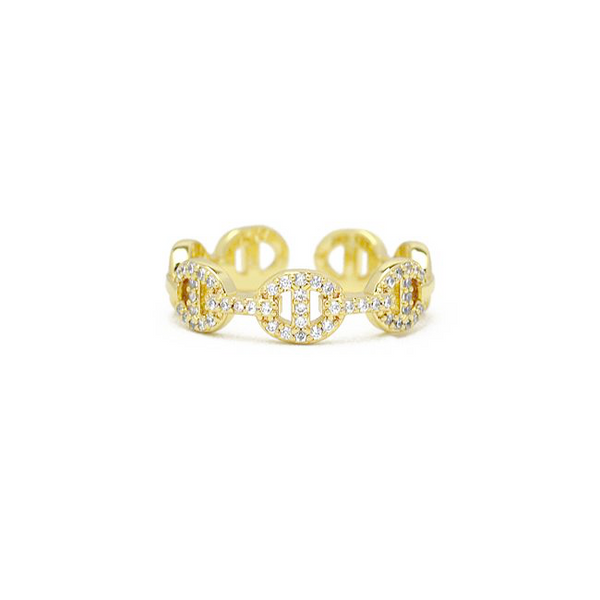 Gold Cubic Zirconia Chain Adjustable Ring