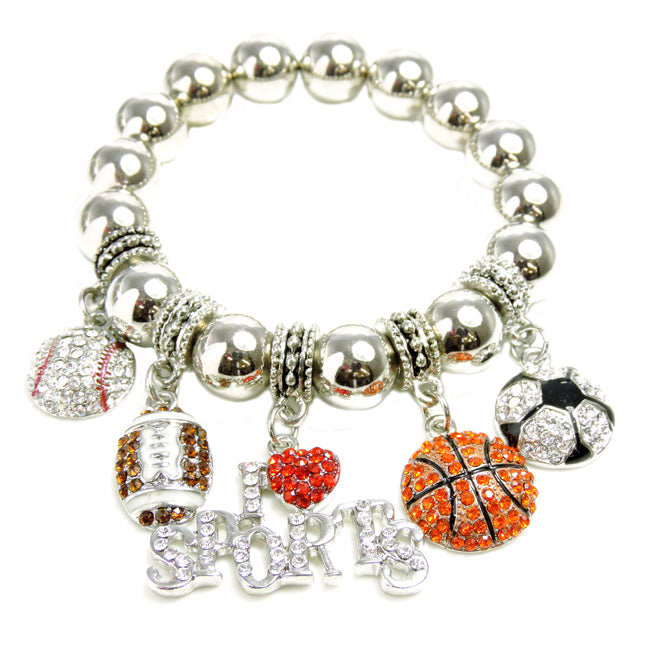 I Love Sports Charm Stretch Bracelet