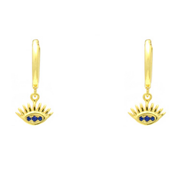 Sterling Silver Gold Plated CZ Evil Eye Dangle Earrings