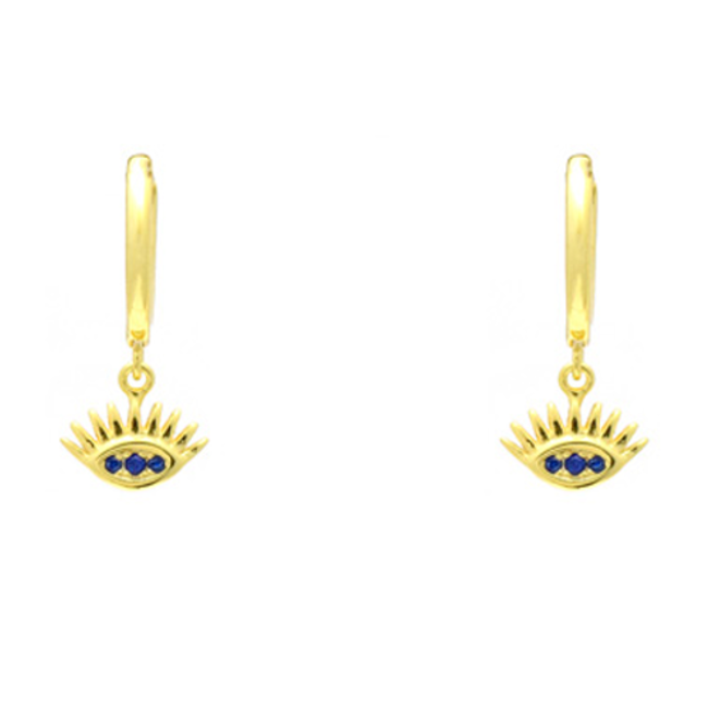 gold cz evil eye earring