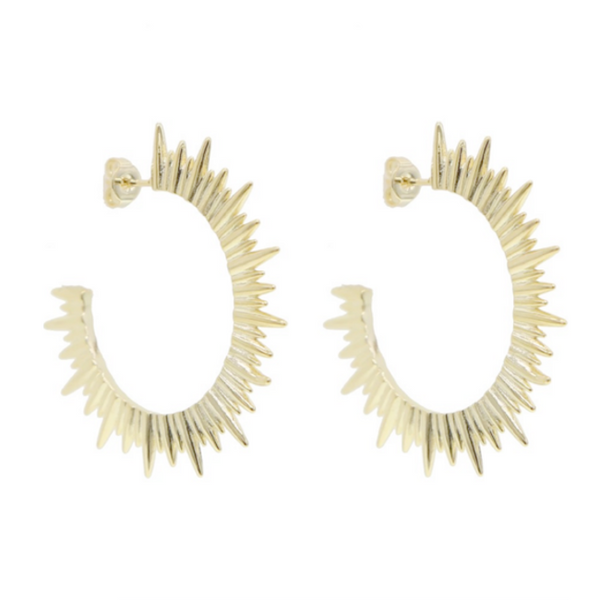 Gold Spike Hoop Earring