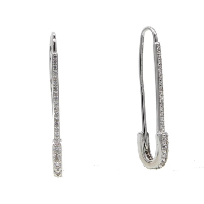 Silver Cubic Zirconia Paper Clip Dangle Earring