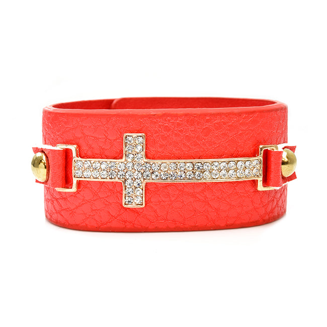 Coral Leather Rhinestone Studded Gold Cross Bracelet