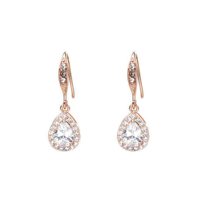 rose gold cz dangle earrings