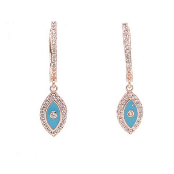 Rose Gold Cubic Zirconia Evil Eye Dangle Earrings