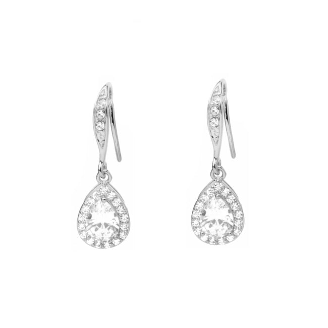 silver cz dangle earrings