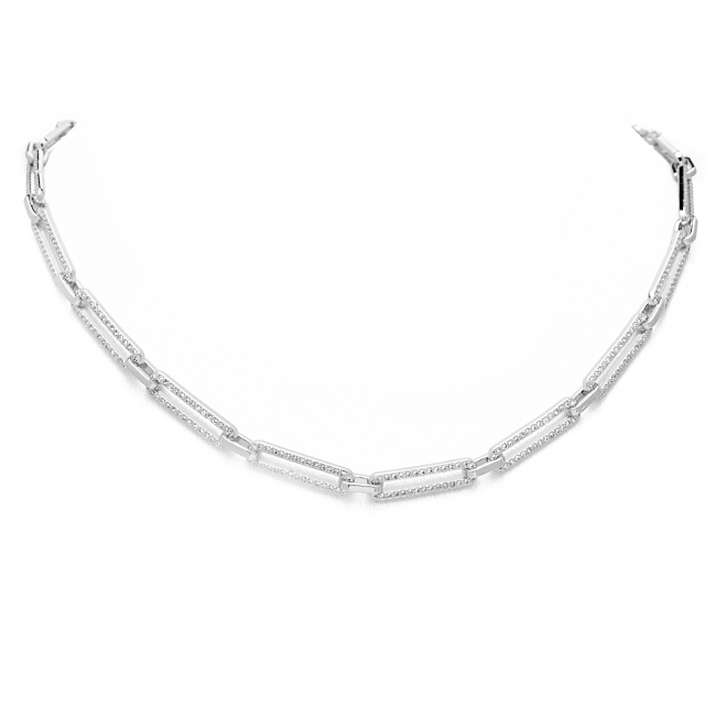 silver cz link chain necklace