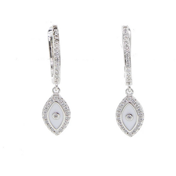 Silver Cubic Zirconia Evil Eye Dangle Earrings