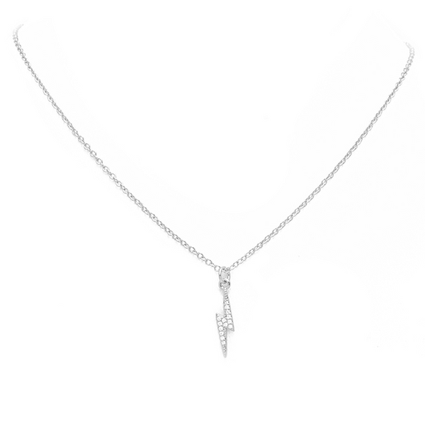 Silver CZ Lightning Bolt Necklace