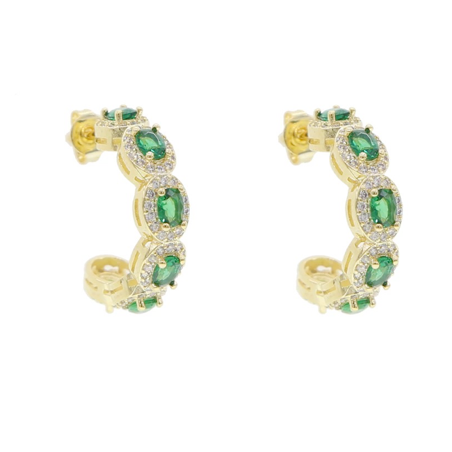 Gold CZ Stud Earrings