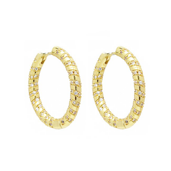 Gold Filled CZ Hollow Hoop Earring