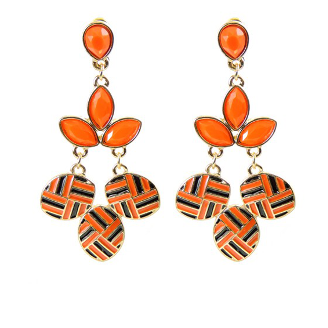 Gold and Coral Dangle Earrings